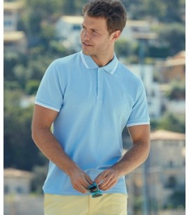 Мужсое поло с полосками Fruit of the Loom Premium Tipped Polo